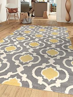 Moroccan Trellis Contemporary Gray/Yellow 5 ft. 3 in. x 7 ft