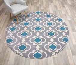 Rugshop Moroccan Trellis Contemporary Indoor Round Area Rug,