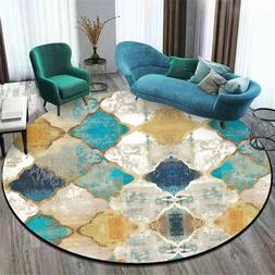 Morocco Colorful Geometric Printed Round Carpet Vintage Livi