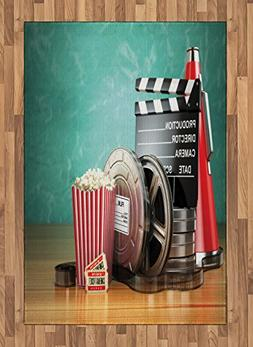 Ambesonne Movie Theater Area Rug, Production Theme 3D Film R