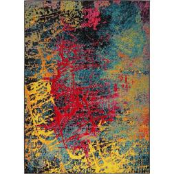 Multi Color Abstract Modern Vibrant Colors Area Rug Home Dec