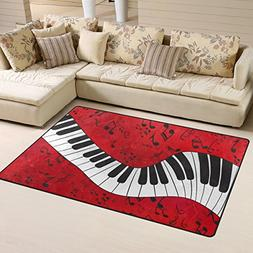 Naanle Music Theme Area Rug 3'x5', Music Note Piano Keyboard