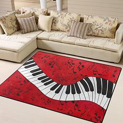 Naanle Music Theme Area Rug 5'x7', Music Note Piano Keyboard