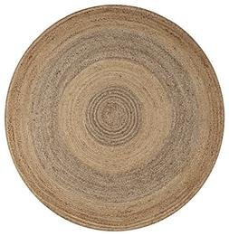 LR Resources NATUR12032NGY60RD Natural Jute Rug LR12032-NGY6