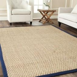 Safavieh Natural Fiber Seagrass NATURAL / BLUE Area Rugs - N
