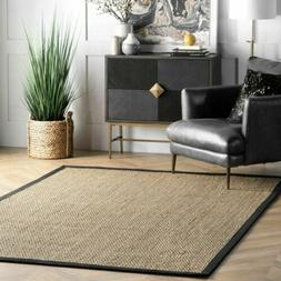 nuLOOM Natural Fibers Elijah Seagrass Area Rug in Black
