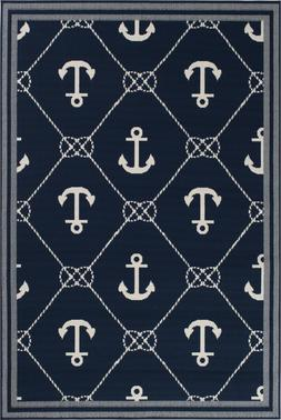 Nautical Anchor Tropical Indoor Outdoor Blue Area Rug **FREE