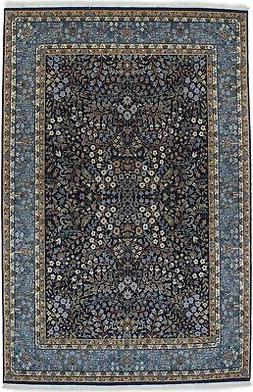 Navy Blue Fine Hand-Knotted New Kirman 6X9 Oriental Home Dé