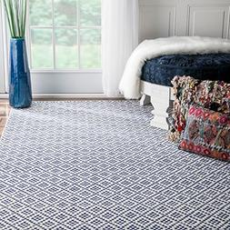 nuLOOM Hand Loomed Nods Cotton Trellis Flat Woven Area Rugs,