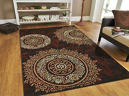 New Area Rugs 8x10 Brown Black Circles Area Rug 5x7 Contempo