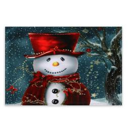 New Soft Coral Fleece Christmas Snowman <font><b>Area</b></f