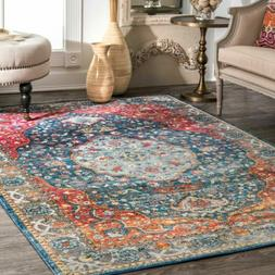 nuLOOM NEW Traditional Vintage Medallion Area Rug in Blue an