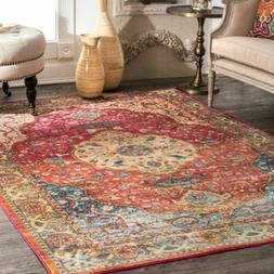 nuLOOM NEW Traditional Vintage Medallion Area Rug in Rust Re