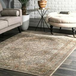 nuLOOM NEW Vintage Medallion Area Rug in Beige, Khaki, Orang