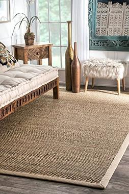 nuLOOM Elijah Seagrass with Border Area Rug, Beige, 6' x 9'