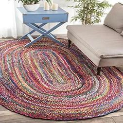 Casual Handmade Braided Cotton Multi Area Rugs, 4 Feet by 6