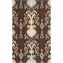 "Art of Knot ""Ocampos Area Rug, 5' x 8', Dark Brown/Wheat/Med"