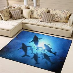 Naanle Ocean Beach Theme Area Rug 5'x7', Animal Whale Underw