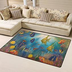 Naanle Ocean Theme Area Rug 3'x5', Underwater with Tropical