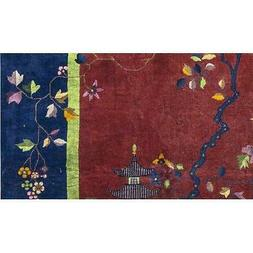 """One-of-a-Kind Art Deco Hand-Knotted Red/Navy 9' x 11'8"""" Wool"""