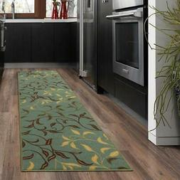 Ottohome Collection Contemporary Leaves Design Seafoam 2 ft.