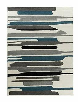 Oxford Collection Style 09 Teal Grey Abstract Area Rug