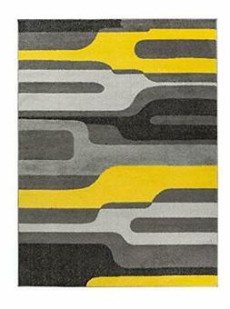 Oxford Collection Style 12 Yellow Grey Abstract Area Rug