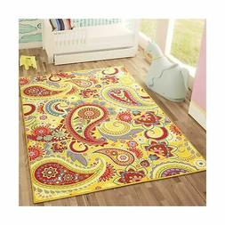 Sweet Home Stores Paisley Design Non-Slip Rubber Backing Are