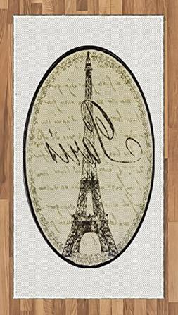 Lunarable Paris Area Rug, Vintage Wall Sign with Paris Theme