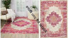 Nourison PASSION Ivory/Fushia Rectangular Indoor Area Rug 5'