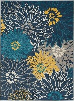 Passion PSN17 Blue Area Rug Bohemian Transitional Floral By
