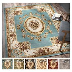 Pastoral Medallion Light Blue French Area Rug European Forma
