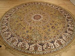 Persian Silk Gold Round Rug 6x6 Circle Shape Rugs Floor Carp