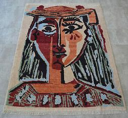 Picasso - Bust of a Woman inspired Hand Knotted Area Rug Wal