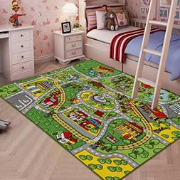 JACKSON Large Kid Rug for Toy Cars,Car Rug Carpet with Non-S