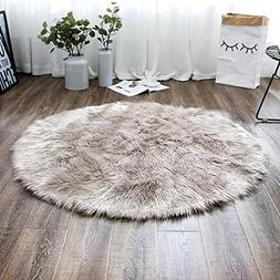 LEEVAN Plush Sheepskin Style Throw Rug Faux Fur Elegant Chic