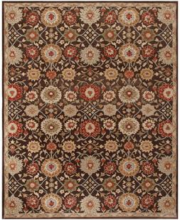 Pottery Barn Mona Oriental Handmade Wool Brown Floral Area R