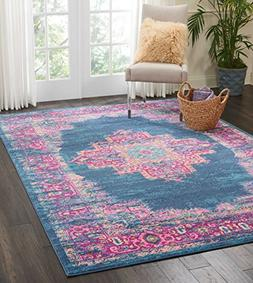Nourison PSN03 Passion Distressed Vintage Blue Area Rug 6'7
