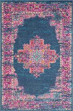 Nourison PSN03 Passion Distressed Vintage Blue Area Rug 3'9