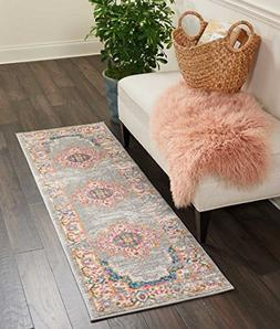 "Nourison PSN03 Passion Traditional Area Rug, 1'10"" x 6', Gre"