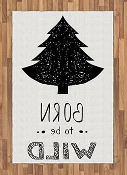 Lunarable Quote Area Rug, Woodland Forest Theme with a Grung
