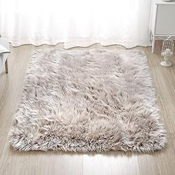 Rectangle Sheepskin Rug Supersoft Fluffy Area Rug Shaggy Sil