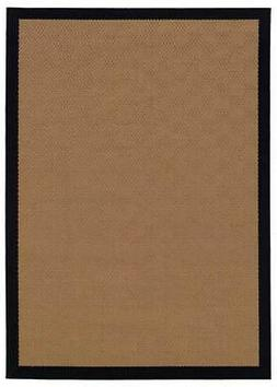Rectangular Bordered Pattern Area Rug in Beige and Black