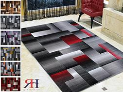 Handcraft Rugs Red Lava/Silver/Gray Abstract Geometric Moder