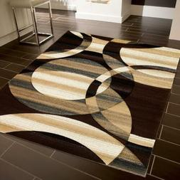 ~ Reflections ~ Modern Swirl Floral Pattern Area Rug Brown 3