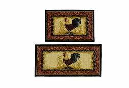 Rooster Rug Set Kitchen Mat Non Skid Farm Country Throw Home