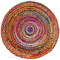 Eyes of India 4 ft Round Colorful Woven Chindi Braided Area