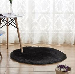 CHITONE Round Faux Fur Sheepskin Rugs, Soft Shaggy Area Rug