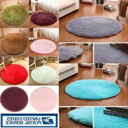 Round Fluffy Rug Anti-Skid Shaggy Dining Room Bedroom Carpet