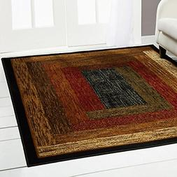 Royalty Woven Black Contemporary Rug - Size: 7'8 x 10'4